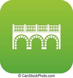 bogenbrücke, ikone, grün, vektor
