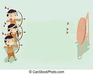 bogensport, kinder, stickman, abbildung, indische , hintergrund