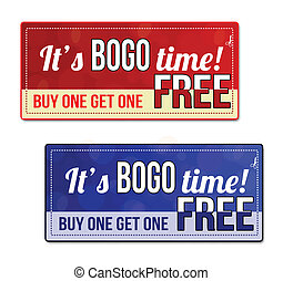 Bogo coupon, voucher, tag - Bogo, Buy One Get one Free Sale...