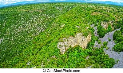 Bogocin fortress, medieval remains aerial shot - Copter...