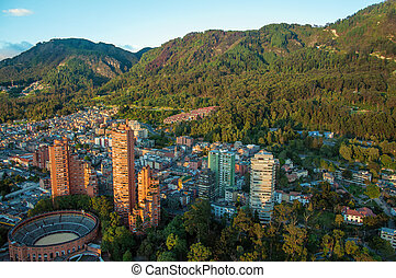Bogota and the Andes Mountains - A view of the center of...