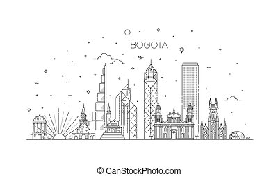 Bogota architecture line skyline illustration. Linear vector...