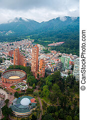 A view of downtown Bogota with the Andes mountains.