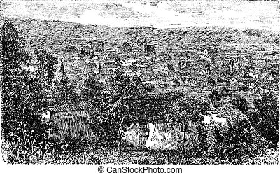 Bogota city, capital of Colombia, vintage engraving in the 1890s, South Ameold engraved illustration. City outskirt view from 1890s.