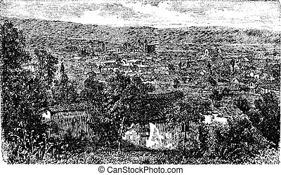 Bogota city, capital of Colombia, vintage engraving in the 1890s
