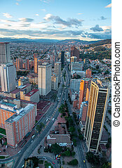 A view from the center of Bogota, Colombia looking to the north.