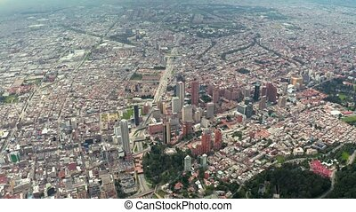 Bogota capital of Colombia downtown aerial view drone footage
