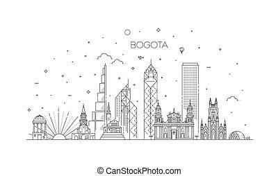 bogota, illustration., cityscape, vecteur, célèbre, ligne, ...