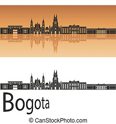 Bogota skyline in orange background in editable vector file