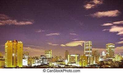 Bogota Candelaria district, Colombia skyline timelapse at night