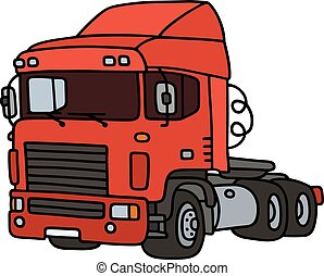 bogsering, lastbil, röd