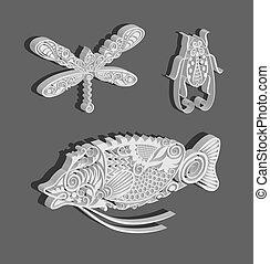 bogue, fish, libellule, décorations