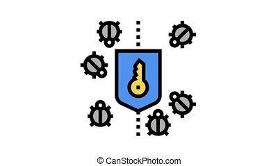 bogue, protection, icône, animation, couleur