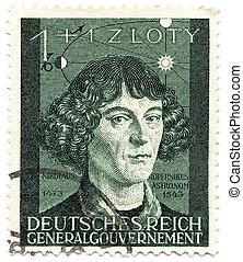 bohême, copernic, vieux, 3ème, year;, timbre, 1943, germany...