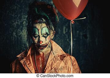 bohóckodik, noha, egy, balloon
