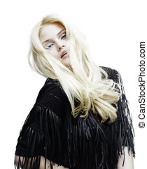 Bohemian Beauty - Blond model wearing black fringe jacket.