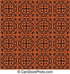 Bohemian Halloween Pattern - An orange and black ornamental...