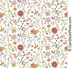 Bohemian hand drawn flowers, seamless pattern, vector...