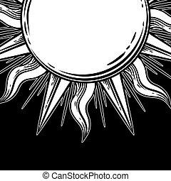 Bohemian hand drawn sun. - Bohemian sun. Vector tattoo hand...