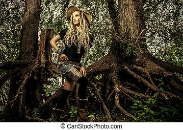 bohemian hoppie - Beautiful boho style girl in the wild wood...