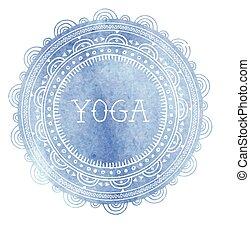 Bohemian Mandala and Yoga background with round ornament ...