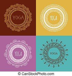 Bohemian Mandala and Yoga background with round ornament pattern