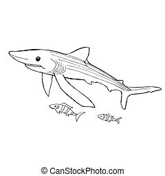 Bohemian reef shark. Coloring book. Hand drawing coloring book for children and adults.