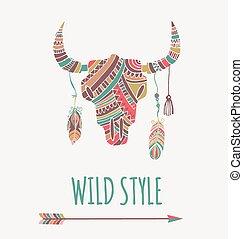 Bohemian, ethnic style bull skull poster