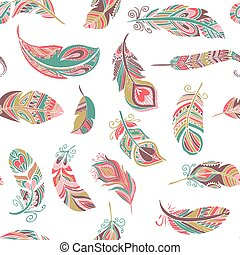Bohemian style feathers seamless pattern - Bohemian, ethnic ...
