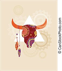 Bohemian, Tribal, Ethnic background with bull skull and patterns