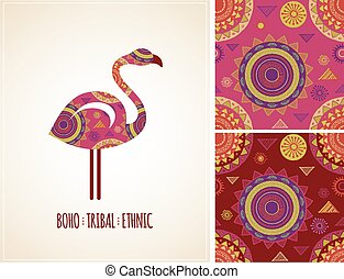Bohemian, Tribal, Ethnic background with flamingo icon and patterns