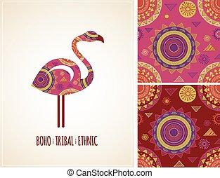 Bohemian, Tribal, Ethnic background with flamingo illustration and patterns