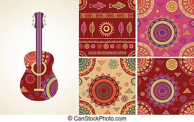 Bohemian, Tribal, Ethnic background with guitar icon and patterns