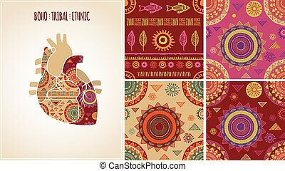 Bohemian, Tribal, Ethnic background with heart icon and patterns