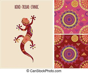 Bohemian, Tribal, Ethnic background with lizard and patterns