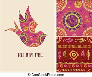 Bohemian, Tribal, Ethnic background with swallow bird and patterns