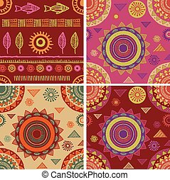 Bohemian, Tribal, Ethnic seamless patterns and backgrounds -...