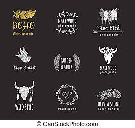 bohemio, tribal, étnico, icono, conjunto, con, pluma