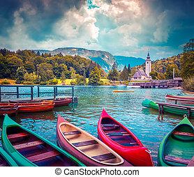 Bohinj Lake with boats