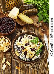 bohne salat, mit, croutons