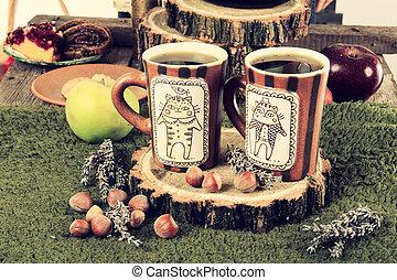 bohnenkaffee, altes , retro, tisch, tassen, kueche