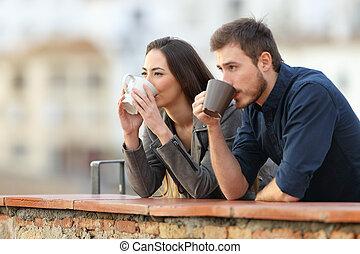 bohnenkaffee, aufpassen, paar, ansichten, trinken, balkon