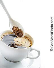 bohnenkaffee, aus, weißes