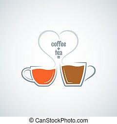bohnenkaffee, begriff, liebe, tee, vektor, hintergrund