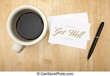 bohnenkaffee, bekommen, karte, brunnen, merkzettel, stift