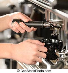 bohnenkaffee, cappuccino, auf, maschine, schließen, machen