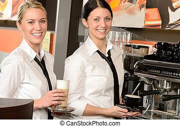 bohnenkaffee, dienst, bar, kellnerinnen, heiter, heiß