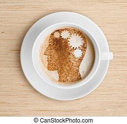 bohnenkaffee, erfrischen, foam., becher, concept., gehirn