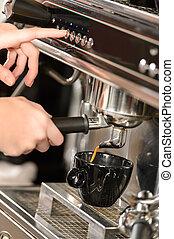 bohnenkaffee, expresso, auf, maschine, schließen, machen