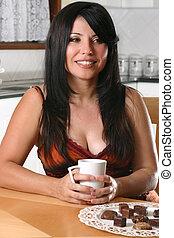 bohnenkaffee, frau entspannung